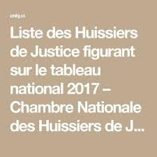 chambre national des huissiers liste des huissiers de justice figurant sur le tableau national