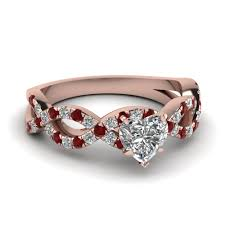 heart shaped diamond engagement ring heart shaped infinity diamond ring with ruby in 14k gold