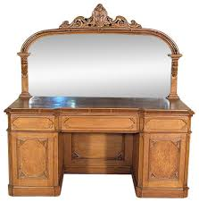Servers Buffets Sideboards Antique English Solid Golden Oak Victorian Gothic Buffet Sideboard