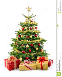 lush christmas tree with gift boxes royalty free stock photography