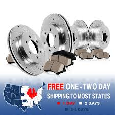 nissan titan brake pads front rear drilled slotted brake rotors and ceramic pads fits