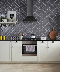 grey gloss kitchen wall tiles outofhome