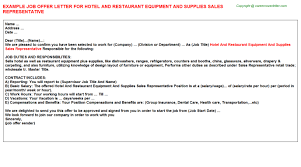 hotel and restaurant equipment and supplies sales representative