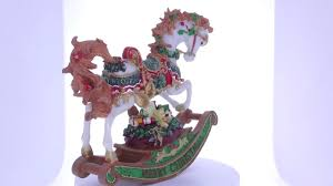 rocking horse with christmas gifts music box figurine youtube