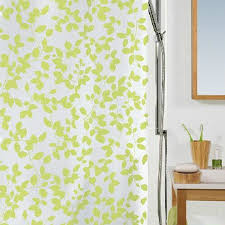 contemporary shower curtain in green color with leaf buy green