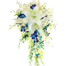 Wedding Flowers Gold Coast Blue Orchid Cascade Wedding Bouquet Botanique Wedding Florists