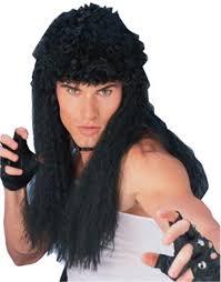 mens costume long curly rambo mullet wig walmart com