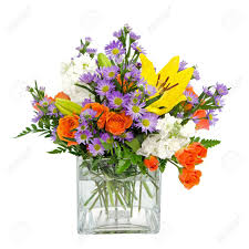 Square Vase Flower Arrangements Colorful Flower Arrangement Centerpiece In Square Glass Vase