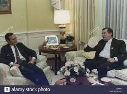president george bush meets with solidarity leader lech walesa in
