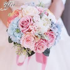 silk wedding bouquets custom holding flowers pink blue bouquet wedding bouquet