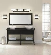Bathroom Vanity Lights Modish Bathroom Vanity Lights Black Finish Using White Lamp Shade