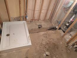 bathroom how do i pour concrete over basement plumbing home