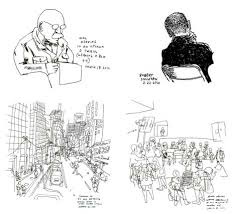 sketch in the city drawing every person in new york urbanist