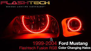 2002 ford mustang headlights 1999 2004 ford mustang v 3 fusion color change led halo headlight