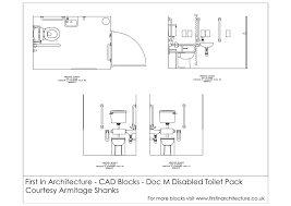 free cad blocks doc m disabled toilet first in architecture this set of cad blocks consists of the building regulation document m disabled toilet this set of blocks comes courtesy of armitage shanks