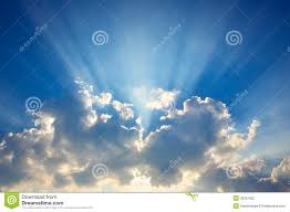 blue sky clouds with sun rays stock photo image of daylight