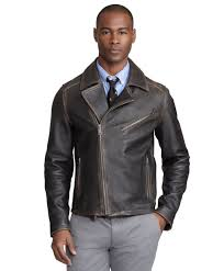brown leather motorcycle jacket brooks brothers motorcycle jacket in black for men lyst