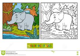 coloring book elephant and background stock vector image 76819532