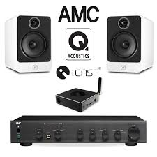 home theater systems with amplifier office audio pack with amc stereo amp u0026 q acoustics speakers