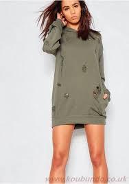 kyga khaki distressed hooded jumper dress d3370685 women u0027s