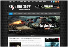 abstract black games blogger template download
