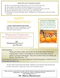 what was the date of thanksgiving 2012 november newsletter u2013 montessori of aberdeen sd