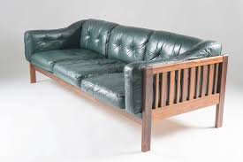 Futura Leather Sofa by Scandinavian Rosewood And Green Leather Sofa Ingvar Stockum