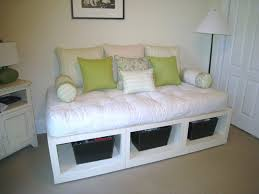 Daybed With Storage Underneath Diy White Platform Daybed With Open Storage Underneath For Basket