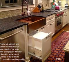 custom copper and stainless sinks for the kitchen and bathroom copper sink double roll out trash under a copper farmhouse sink