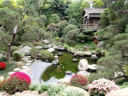 pretty japanese garden decor ideas presenting small koi pond and