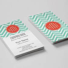 mint green chevron and orange monogram business card template