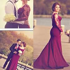 burgundy jersey long sleeve lace wedding dresses popular prom