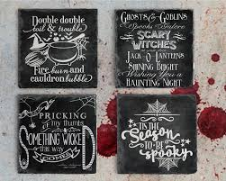 halloween decor chalkboard quote coaster set slate drink coaster