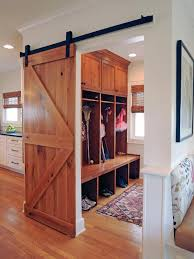 beautiful wood sliding barn door feat long mudroom bench with shoe