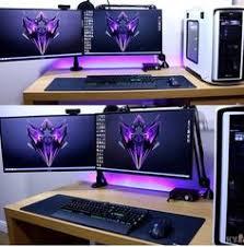 Gaming Desk Setup by 3 Screen Setup W Colorful Lights Gaming Desks Pinterest