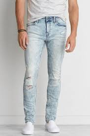 Light Wash Ripped Skinny Jeans Aeo Extreme Flex Skinny Jean Aeo Guy Fashion And Man Style