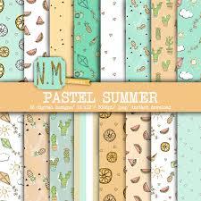 summer digital paper pack pastel summer digital pattern fun