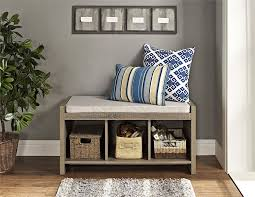 amazon com altra penelope entryway storage bench with cushion
