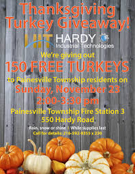 annual thanksgiving turkey giveaway in painesville township