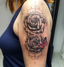grey rose flowers and color butterfly tattoo on left half sleeve