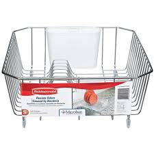 Dish Drainer Rubbermaid Small Chrome Antimicrobial Dish Drainer Fg6008archrom