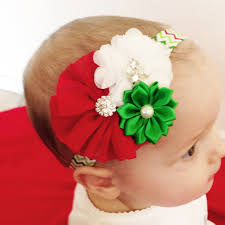christmas hair bows 12pcs lot lovely wave chiffon flower christmas hair bows