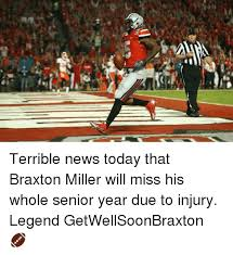 Braxton Miller Meme - terrible news today that braxton miller will miss his whole senior