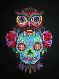 embroidered black cardigan sugar skull owl design size 14 large