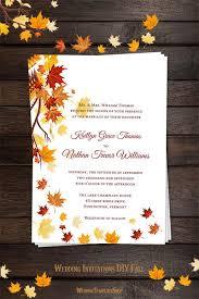 falling leaves wedding invitation fall orange yellow wedding