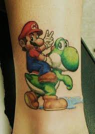 a tattoo of mario and a yoshi dragon from the mario video