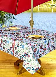 tablecloth for patio table with umbrella amazon com outdoor tablecloths umbrella hole with zipper patio