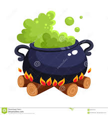 halloween wood background halloween caldron cauldron with boiling green potion on wood fire