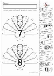 kindergarten thanksgiving math literacy worksheets and