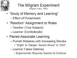 The first is Stanley Milgram     s classic studies of obedience to authority               As is well known  Milgram contrived a situation in which two subjects